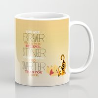 winnie the pooh Mugs featuring stronger, braver, smarter, winnie the pooh by studiomarshallarts