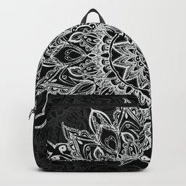 White Mandala on black Backpack