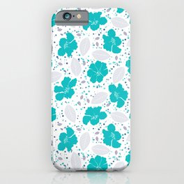 Turquoise florals and gray foliage  iPhone Case