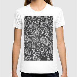White sketches floral paisley on black bacground T-shirt