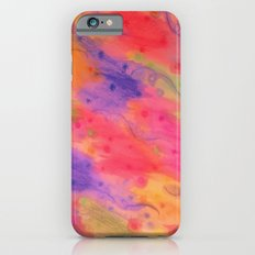 SEEING STARS 3 - Peach Pink Pretty Starry Sky Abstract Watercolor Painting Lovely Feminine Pattern iPhone 6s Slim Case