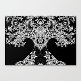 Unity of Halves - Life Tree - Rebirth - Black Canvas Print