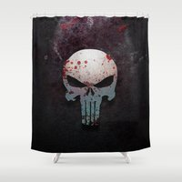 punisher Shower Curtains featuring Punisher Skull  by Electra