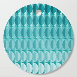 Leaves in the moonlight - a pattern in teal Cutting Board