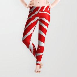 Animal Print Zebra Red and White Pattern Leggings
