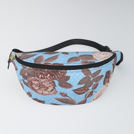 Copper and Blue Vintage Roses on Sky Blue Fanny Pack