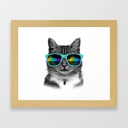 Cool Cat With Glasses Framed Art Print