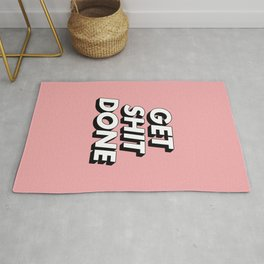 Get Shit Done black and white typography pink black and white motivational typography wall decor Rug