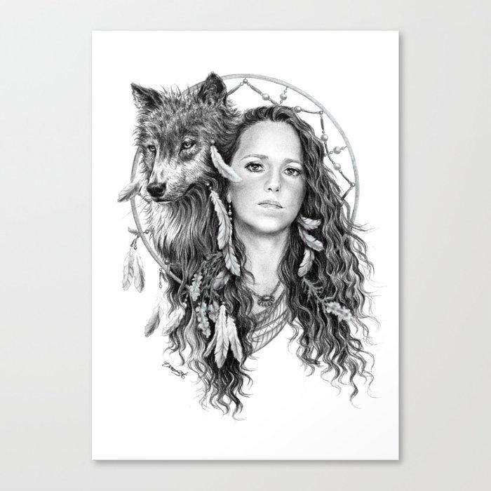 Heather / Black & white Canvas Print