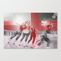 roller derby Canvas Prints featuring Punchtuation Roller Derby by Vin Zzep