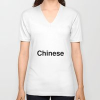 chinese V-neck T-shirts featuring Chinese by linguistic94
