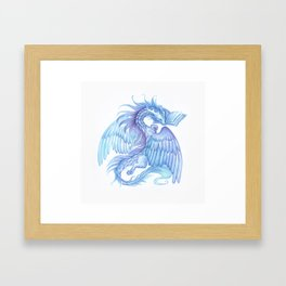 A dragon with a book Framed Art Print