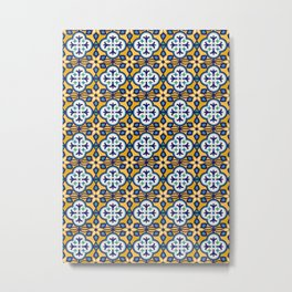 Yellow and Blue Moroccan Tile Metal Print