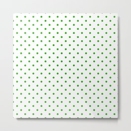 Green Dots and White Background Metal Print