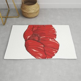 Red Poppy Flower Rug