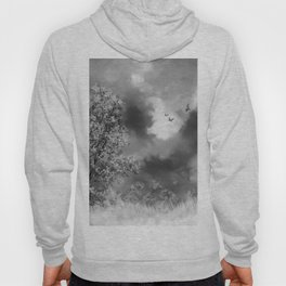 Night Landscape Watercolor (Black and White) Hoody
