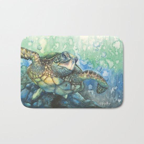 Sea Life Turtle Wave Rug2 Bath Mat: Sea Turtle Glides Bath Mat By AndyKayArt