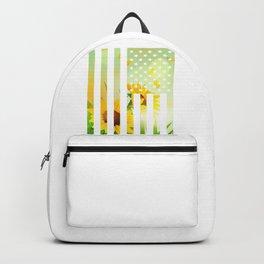 American Flag Women's Patriotic Floral Gift USA Flag Stars Stripes Backpack