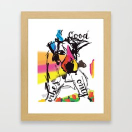 Good vibes only dog Framed Art Print