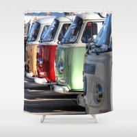 hippy Shower Curtains featuring Hippy Vans by Barbo's Art
