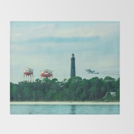 Blue Angels Practicing by Lighthouse, Water Towers, Ocean Throw Blanket