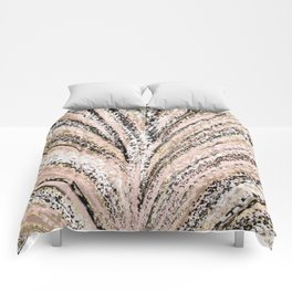Rose Gold and Glitter Brushstroke Bursts Comforters