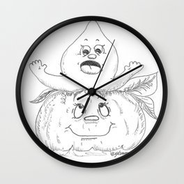 Pumpkin With Ghost Wall Clock