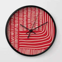 Digital Stitches thick red Wall Clock