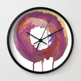 Be present: a colorful, abstract, circular piece in pinks purples and gold Wall Clock