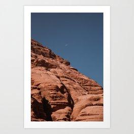 Moon and Rocks. Wadi Rum Desert, Jordan. Travel Print. Photography Nature Wall Art. Art Print