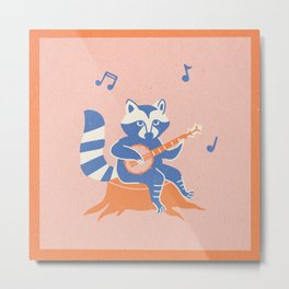 Banjo Racoon Metal Print