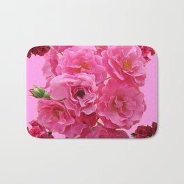 DECORATIVE FRILLY SCENTED PINK ROSE CLUSTERS ON PINK Bath Mat