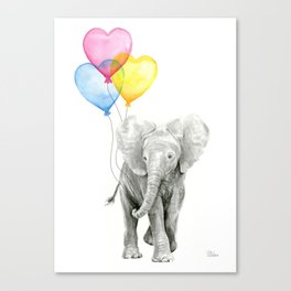 Elephant Watercolor with Balloons Rainbow Hearts Baby Animal Nursery Prints Canvas Print