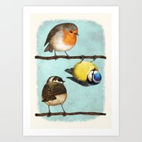 Three Little Birbs - Blue Art Print