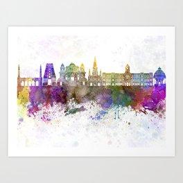 Chennai skyline in watercolor background Art Print