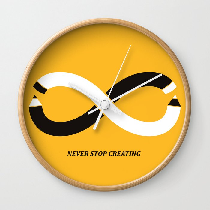 Never stop creating (the infinity pencil) Wall Clock