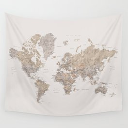 World map with cities in brown and light gray Wall Tapestry