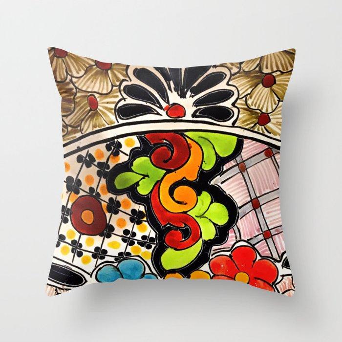 Beautiful Red and Green Talavera Throw Pillow