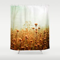 gray Shower Curtains featuring Daybreak in the Meadow by Olivia Joy StClaire
