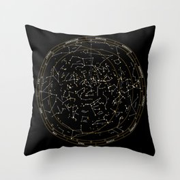 Star Chart of the Northern Hemisphere Throw Pillow