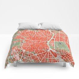 Madrid city map classic Comforters