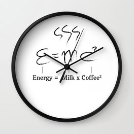 Coffee Caffeine Einstein E = MC² motivation gifts Wall Clock