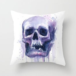 Skull in Watercolor Galaxy Space Throw Pillow