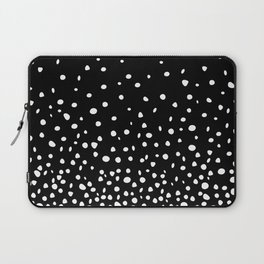 White Polka Dot Rain on Black Laptop Sleeve