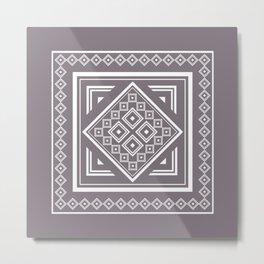 Modern Tribal Geometric Square Pattern in Aubergine Metal Print