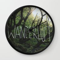 wanderlust Wall Clocks featuring Wanderlust by Leah Flores