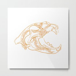 Lion skull with floral ornament Metal Print