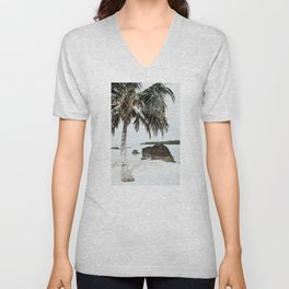 Tropical Beach Art Print | Exotic Travel Photography | White Beach With Palm Tree Unisex V-Neck