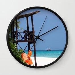 Life guard tower at a dream beach Wall Clock