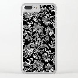 Black & Silver Vintage Floral Damasks Pattern Clear iPhone Case